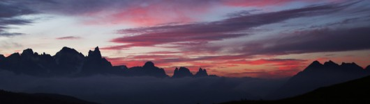 Sunrise over the Dolomites (Pale di San Martino) - View from Le Cune